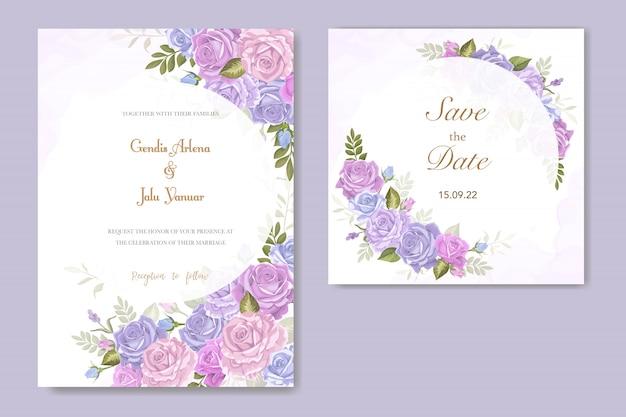 Vettore del fiore della rosa dell'invito di cerimonia nuziale Vettore Premium
