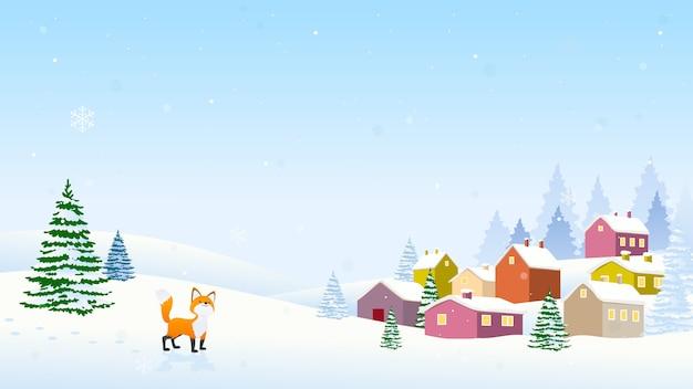 Vettore del fondo del paesaggio di natale di inverno Vettore Premium