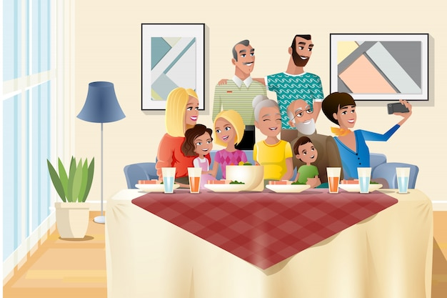 Vettore del fumetto della cena della grande festa della famiglia a casa Vettore Premium