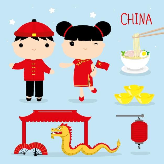 Vettore del fumetto della mascotte del ragazzo e della ragazza della cina di tradizione asia Vettore Premium