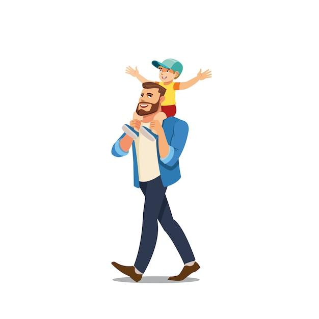 Vettore del fumetto di riding del figlio sulle spalle del padre Vettore Premium