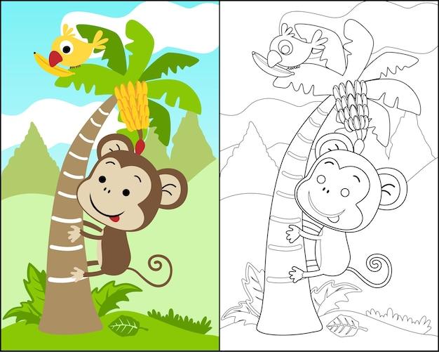 Vettore Del Libro Da Colorare Con Scimmia Cartone Animato Scalare Un