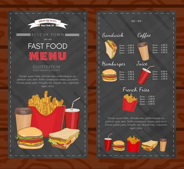 Vettore del menu degli alimenti a rapida preparazione del modello di progettazione della copertura del fast food Vettore Premium