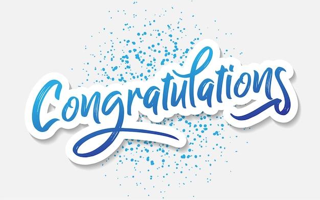 Vettore del messaggio dell'iscrizione di congratulazioni per accogliere Vettore Premium