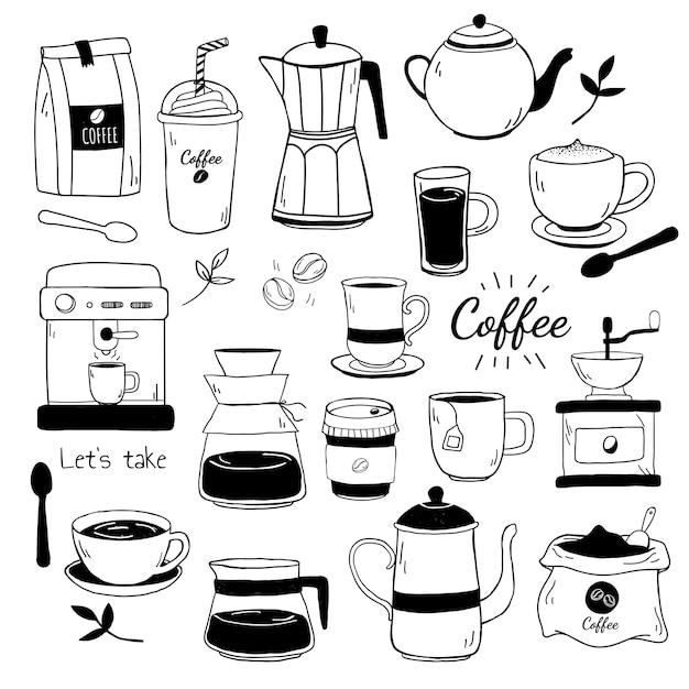 Vettore del modello del caffè e del caffè Vettore gratuito