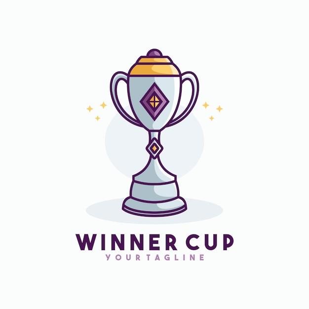 Vettore del modello del logo della linea della tazza del vincitore Vettore Premium