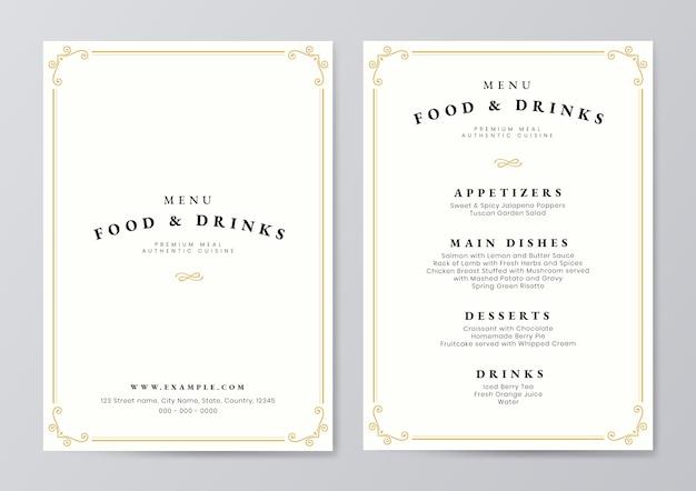 Vettore del modello del menu delle bevande e dell'alimento Vettore Premium