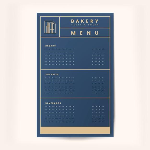 Vettore del modello del menu delle pasticcerie e delle bevande Vettore gratuito