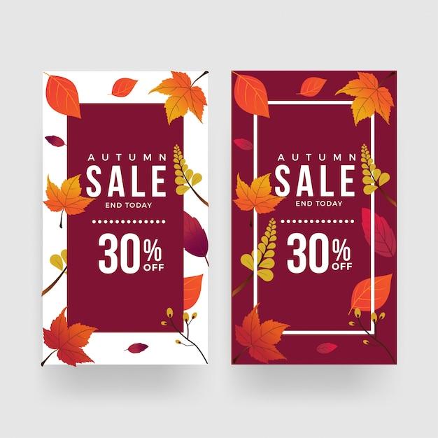 Vettore del modello dell'insegna di promozione di vendita di autunno Vettore Premium