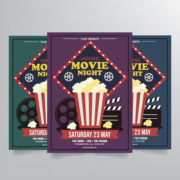 Vettore del modello di film night flyer Vettore Premium