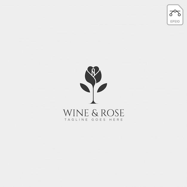 Vettore del modello di logo di rosa e del vino isolato, elementi dell'icona Vettore Premium