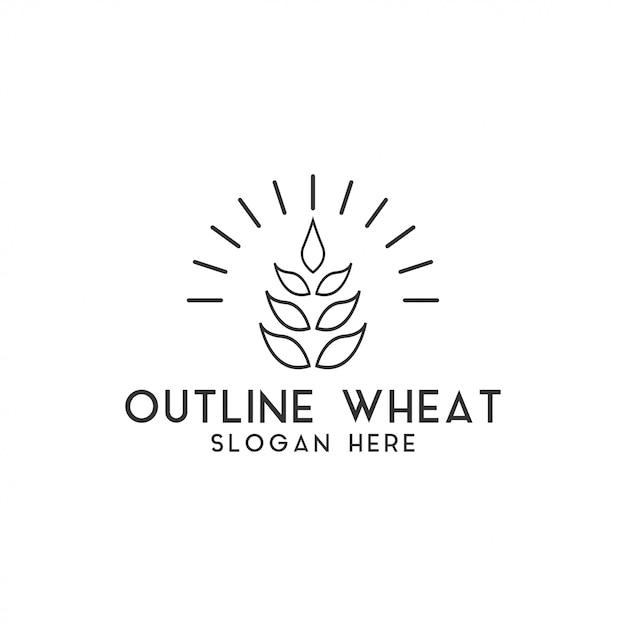 Vettore del modello di progettazione di logo del grano di agricoltura isolato Vettore Premium