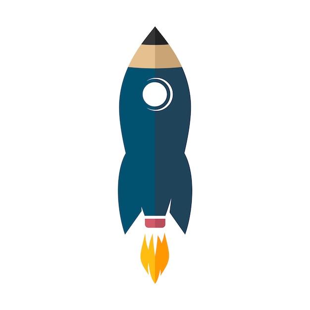Vettore del segno dell'icona di logo della matita della razzo spaziale Vettore Premium
