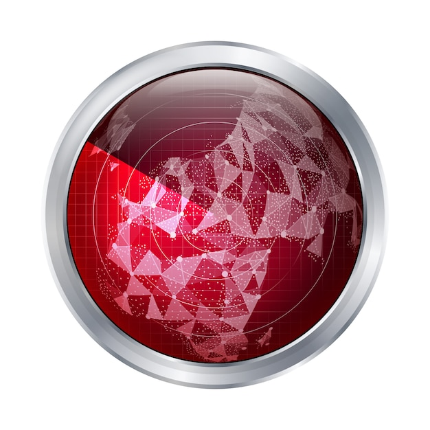 Vettore del segno radar. europa. radar astratto scansiona la mappa del mondo. Vettore Premium