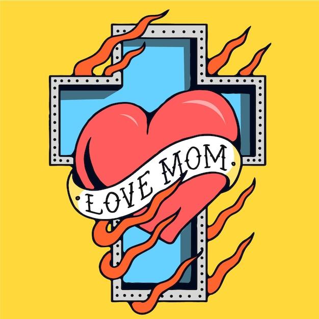 Vettore del tatuaggio della vecchia scuola della traversa della mamma di amore Vettore Premium