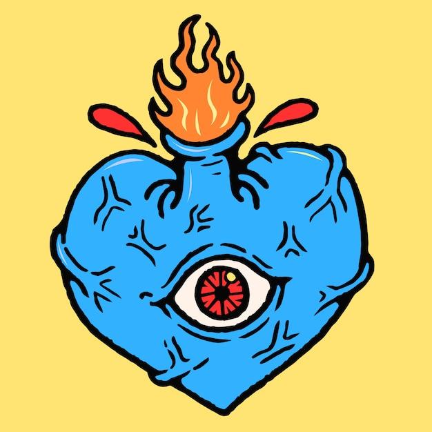 Vettore del tatuaggio della vecchia scuola di cyclops del cuore Vettore Premium