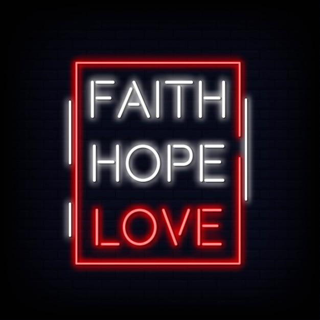 Vettore del testo dell'insegna al neon di amore di speranza di fede Vettore Premium