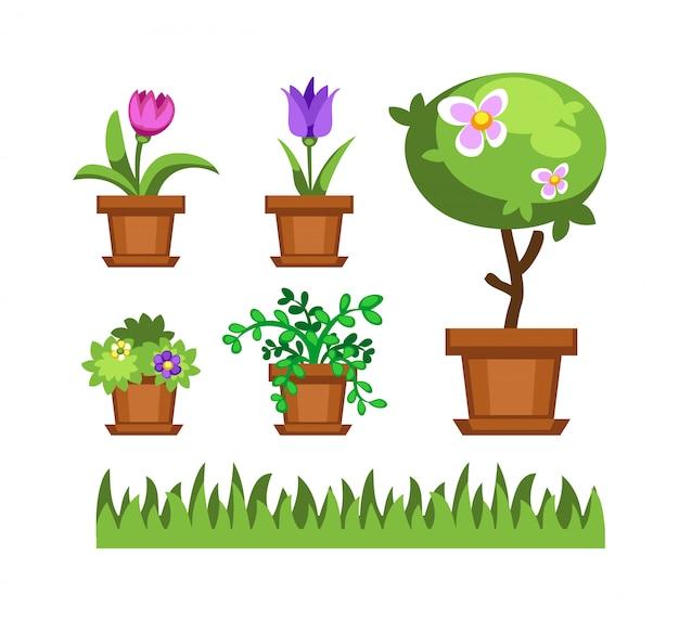 Vettore dell'albero e dei fiori del giardino Vettore Premium