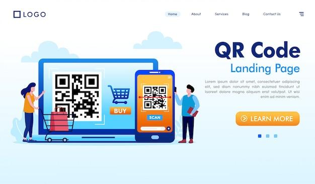 Vettore dell'illustrazione del sito web della pagina di atterraggio di codice qr Vettore Premium