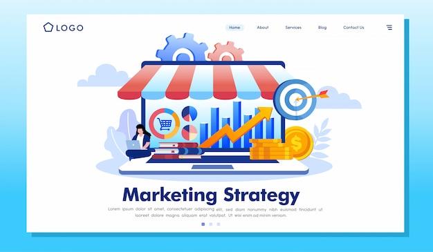 Vettore dell'illustrazione del sito web della pagina di atterraggio di strategia di marketing Vettore Premium