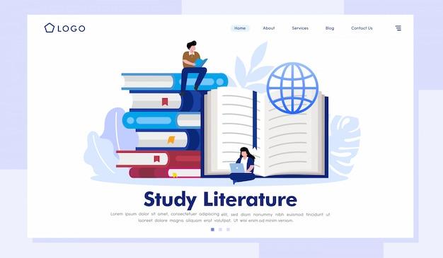 Vettore dell'illustrazione del sito web della pagina di destinazione della letteratura di studio Vettore Premium