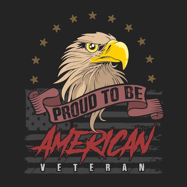 Vettore dell'illustrazione del veterano della testa dell'aquila americana Vettore Premium