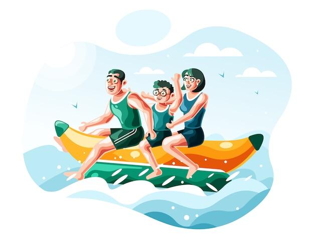 Vettore dell'illustrazione della barca di banana di guida della famiglia Vettore Premium