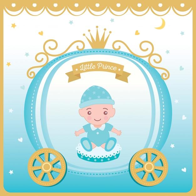 Vettore dell'illustrazione della cartolina d'auguri dell'acquazzone di bambino Vettore Premium