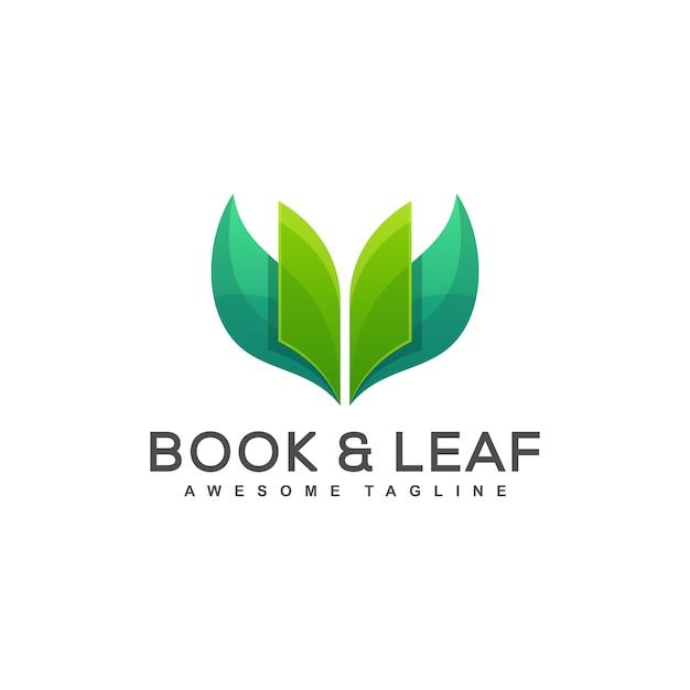 Vettore dell'illustrazione di concetto della foglia del libro Vettore Premium