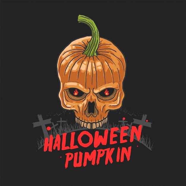 Vettore dell'illustrazione di incubo della zucca del cranio di halloween Vettore Premium