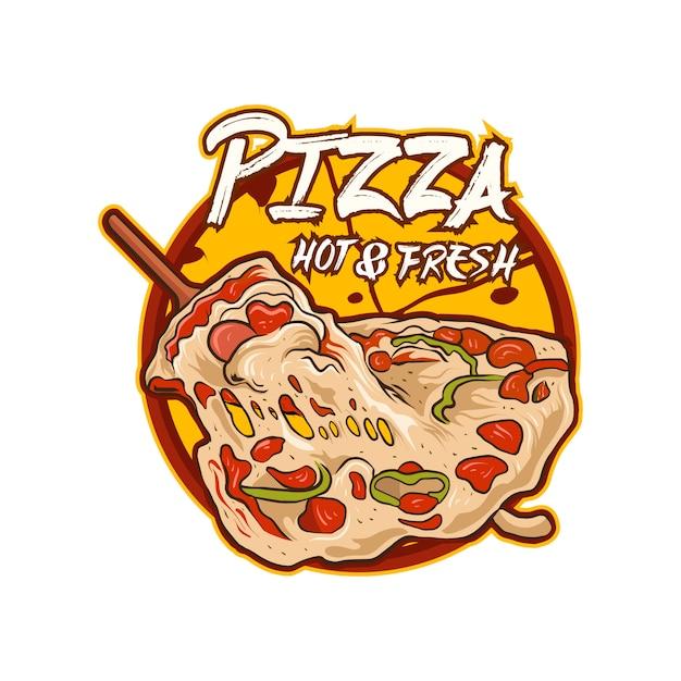 Vettore dell'illustrazione di logo della pizza isolato Vettore Premium