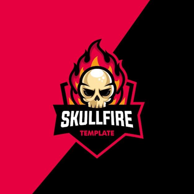 Vettore dell'illustrazione di sport del fuoco del cranio Vettore Premium