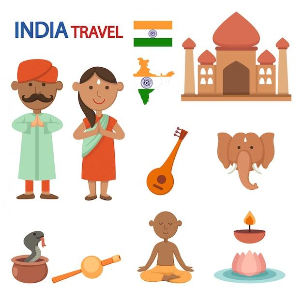 Vettore dell'illustrazione di viaggio dell'india Vettore Premium