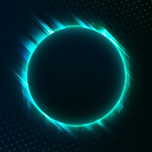Vettore dell'insegna al neon del cerchio verde in bianco Vettore gratuito