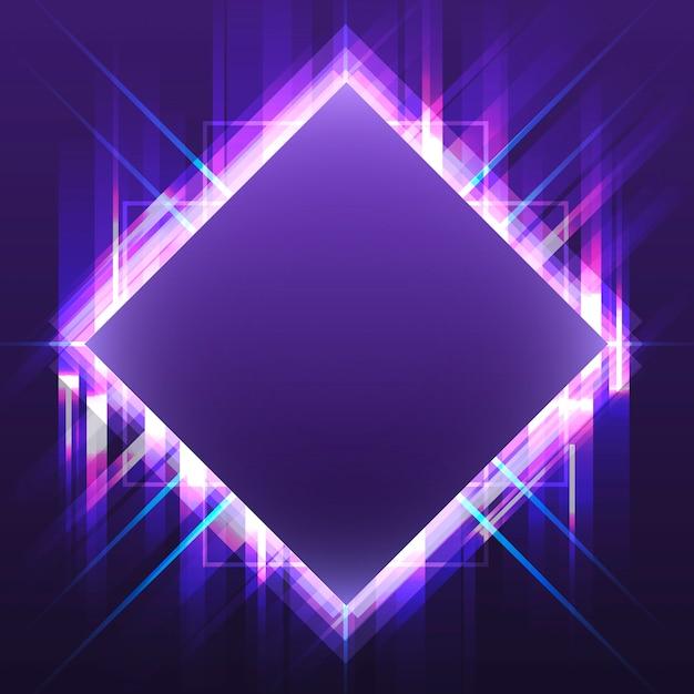 Vettore dell'insegna al neon quadrato viola in bianco Vettore gratuito