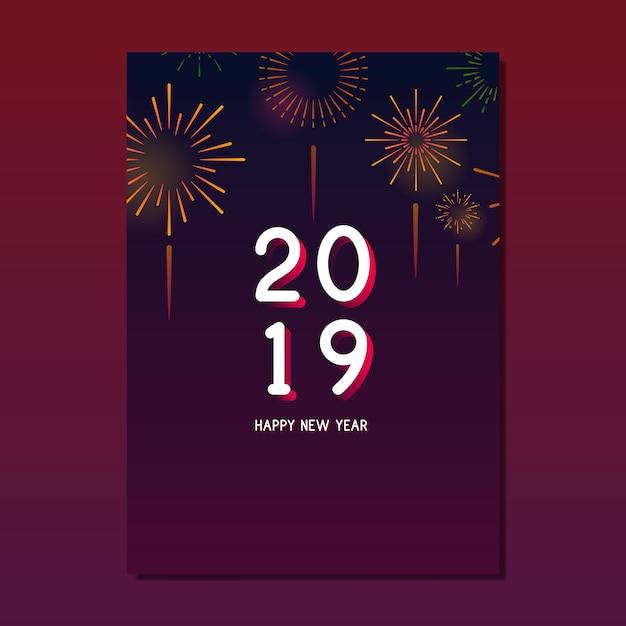 Vettore della cartolina d'auguri del buon anno 2019 Vettore gratuito