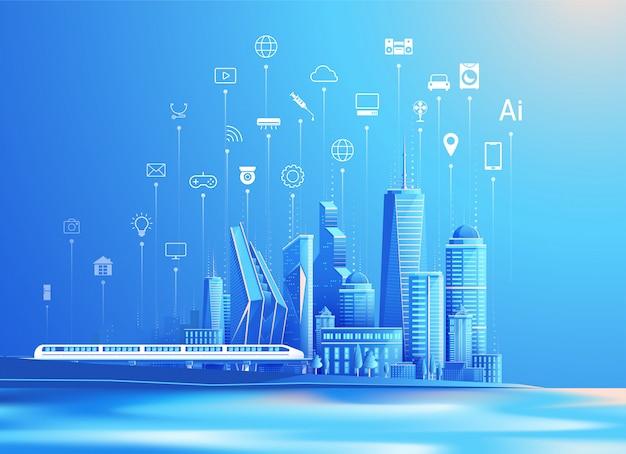 Vettore della città intelligente e internet del concetto di design piatto cose Vettore Premium