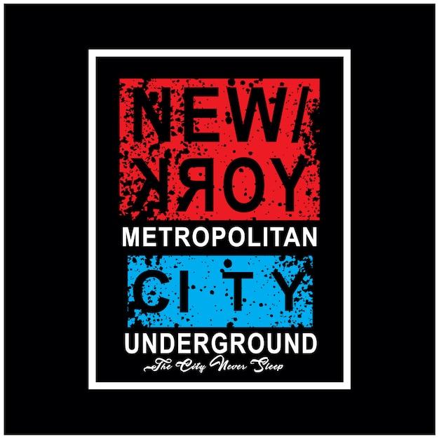 Vettore della maglietta di tipografia di new york city Vettore Premium