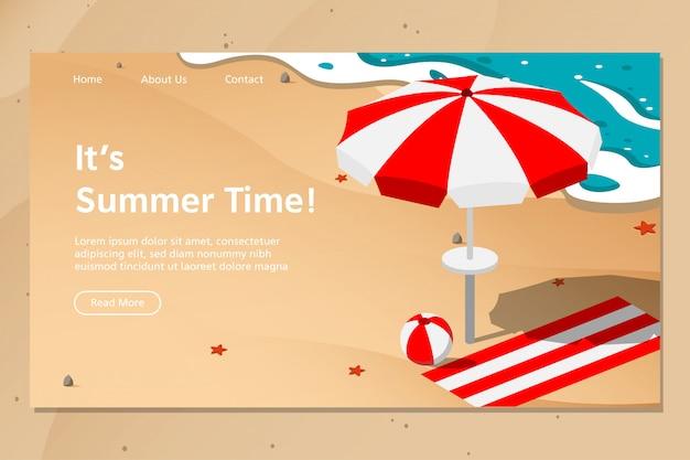 Vettore della pagina di atterraggio della spiaggia di estate Vettore Premium