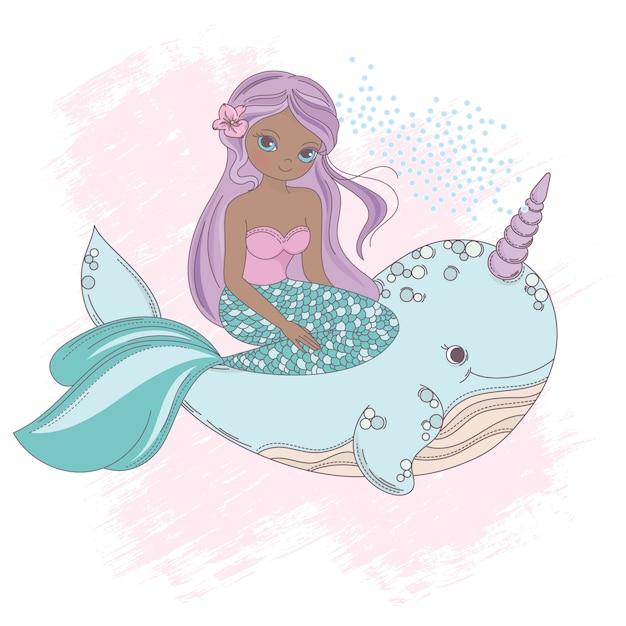 Vettore della principessa della sirena della sirena unicorn della balena Vettore Premium