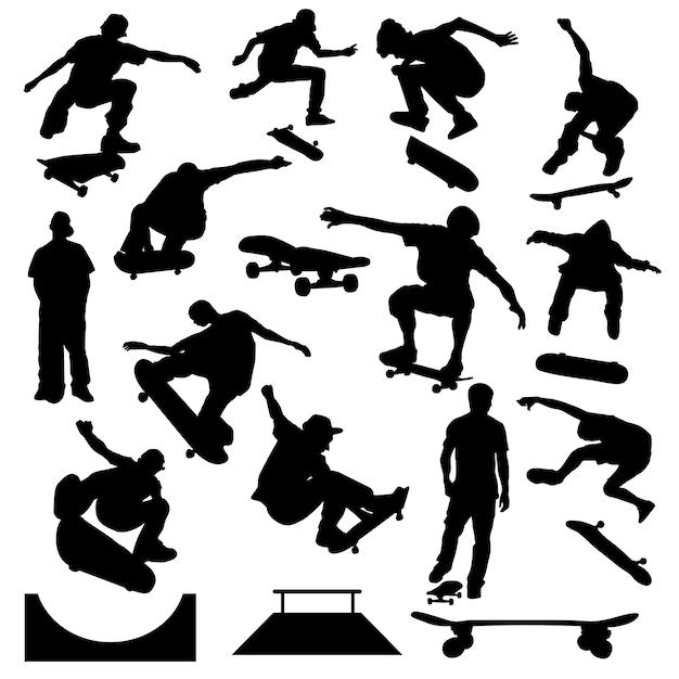 Vettore della siluetta di arte di sport urbana del pattinatore Vettore Premium