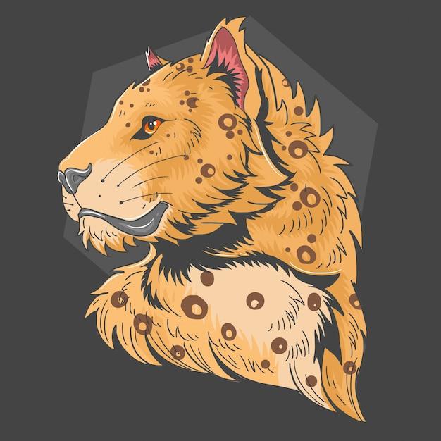 Vettore della testa di leopardo Vettore Premium