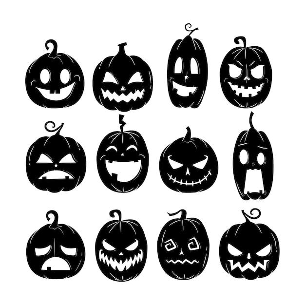 Vettore della zucca di halloween con il modello di varia espressione Vettore Premium