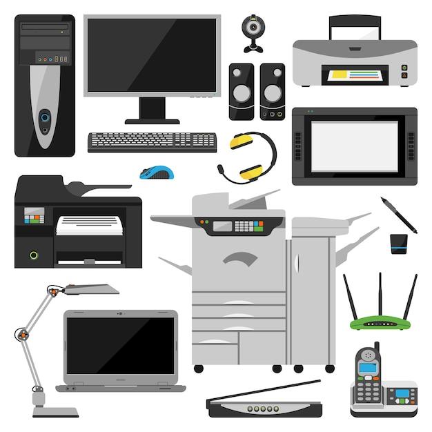 Vettore delle attrezzature d'ufficio del computer Vettore Premium
