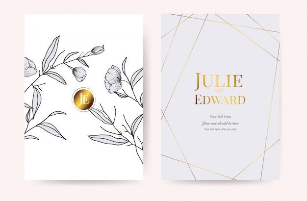 Vettore delle carte dell'invito di nozze di lusso Vettore Premium