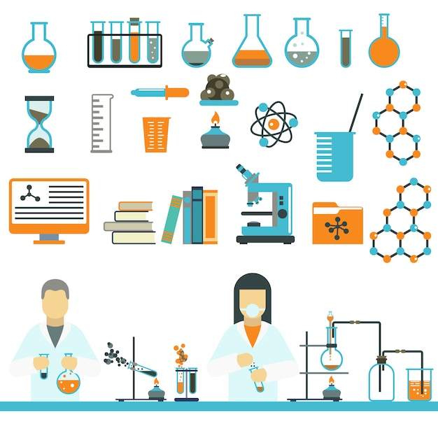 Vettore delle icone di scienza e di chimica di simboli del laboratorio. Vettore Premium