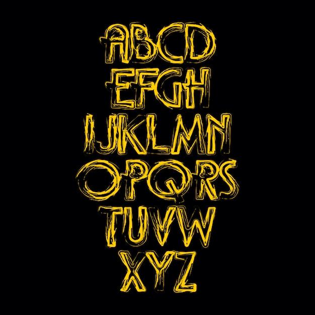 Vettore di alfabeto disegnato a mano Vettore Premium