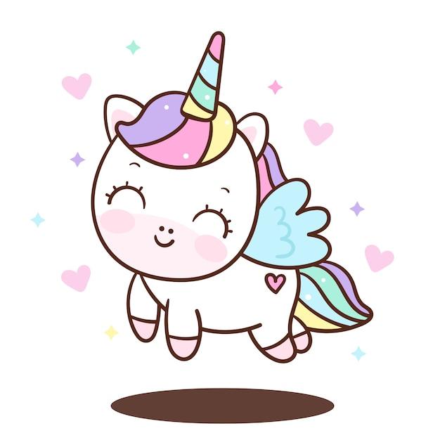 Vettore di angelo unicorno carino Vettore Premium