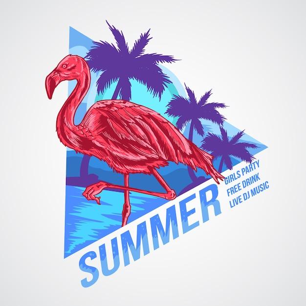 Vettore di arte dell'elemento di estate di flamingo Vettore Premium