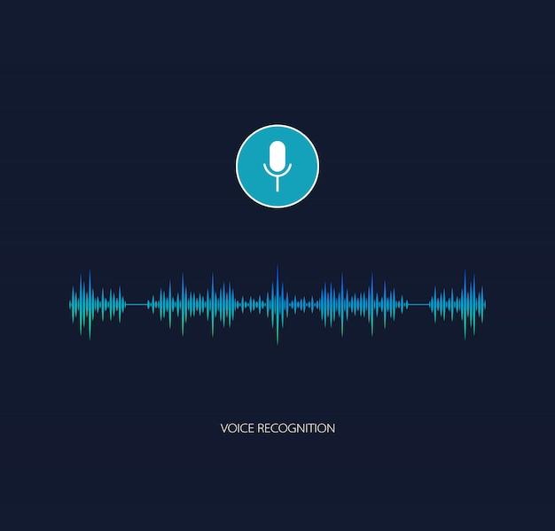 Vettore di assistente vocale. riconoscimento vocale Vettore Premium